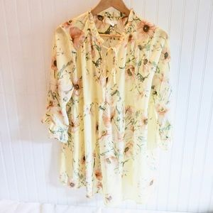 🌸SALE🌸 H&M Mama Yellow Floral Tunic Blouse